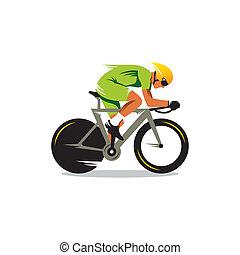 piste, vélo courir, vecteur, signe