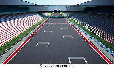 piste, vide, côté, asphalte, barbouillage, international, vue, mouvement, course