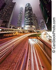 pistes, bâtiments, moderne, trafic, nuit