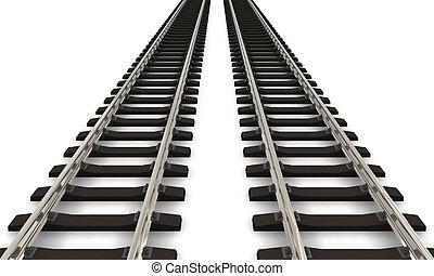 pistes, chemin fer, deux