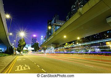pistes, lumière, autoroute, ville