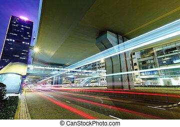 pistes, lumière, trafic, nuit, ville