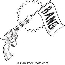 pistolet, comique, croquis