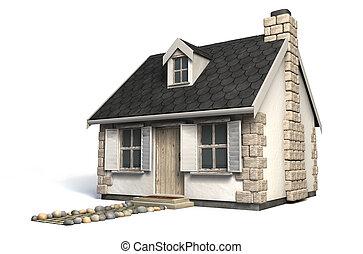 pittoresque, petite maison, peu