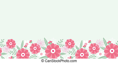 pivoine, modèle, feuilles, seamless, horizontal, fleurs, frontière