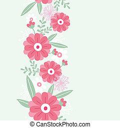 pivoine, vertical, modèle, feuilles, seamless, fleurs, frontière