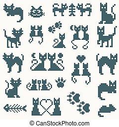 pixel, vecteur, ensemble, retro, chat