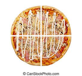 pizza, isolé, blanc