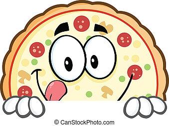 pizza, signe, sur, sourire