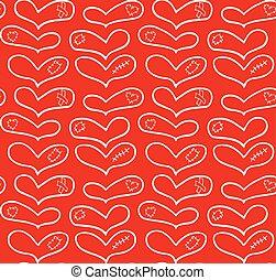 plâtre, ensemble, main, vecteur, dessiné, cœurs, pièce, cicatrice
