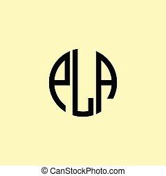 pla, lettres, logo., initiale, arrondi, créatif