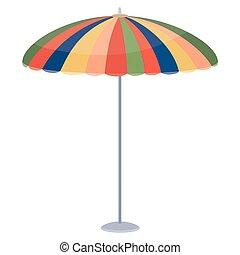 placé, table, au-dessus, coloré, café, plage, objet, ou, isolé, blanc, parasol, fond