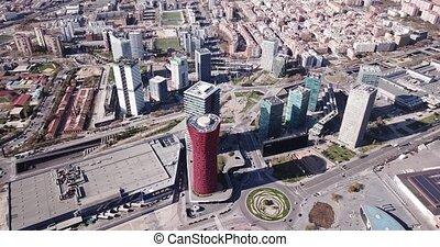 placa, district, via, d, vue, gran, aérien, panoramique, europa, affaires modernes, gratte-ciel