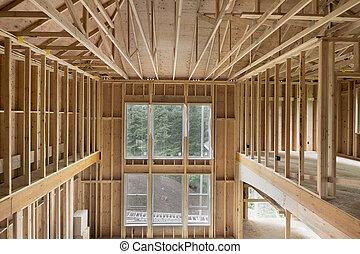 plafond, élevé, bois, encadrement, clou, nouvelle maison, construction