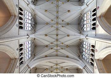 plafond, angleterre, minster, intérieur, orné, churh, york