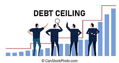 plafond, gestion, prêt, limite, faillite, crise, diagramme, dette