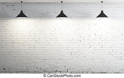 plafond, trois, lampe