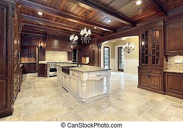 plafonds, bois, haut gamme, cuisine