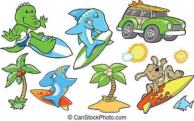 plage, été, vecteur, ensemble, surfer