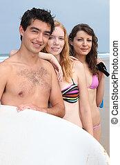 plage, adolescent, amis, trois