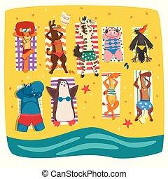 plage, animaux, bains de soleil, délassant, été, caractères, vacances, illustration, vecteur, mignon, fond, sauvage, rivage, blanc, dessin animé