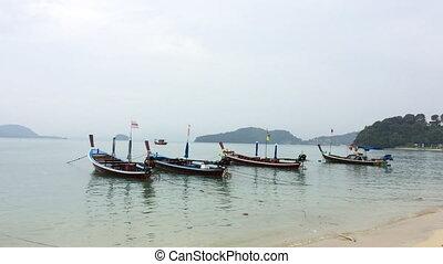 plage, asiatique, motorboats