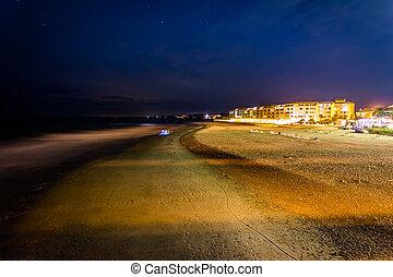 plage, bâtiments, folie, nuit, long, plage, sud, vue