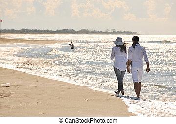plage, beau, heureux, amusement, couple, avoir, jeune