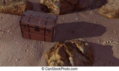 plage, bois, boîte trésor