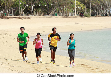 plage, concept, groupe, gens, courant, sport