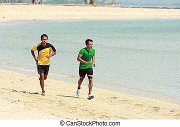 plage, concept, jeune, courant, asiatique, sport, homme
