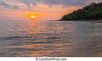 plage, coucher soleil, île, fond, kood, paysage, scène, thailand., koa