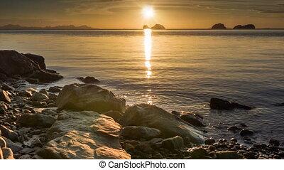 plage, coucher soleil, calme, mer, rochers