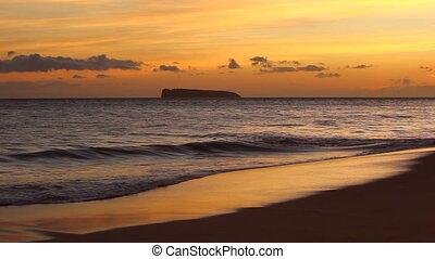 plage, coucher soleil, hawaï