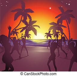 plage coucher soleil, illustration, fête