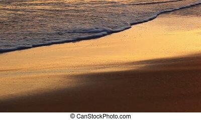 plage coucher soleil, lavage haut, vagues