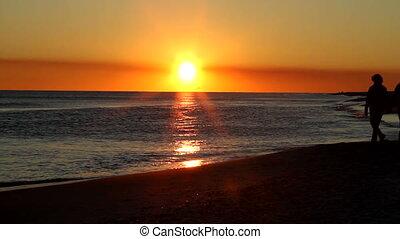plage, coucher soleil, mûrir, promenade