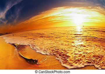 plage, coucher soleil, thaïlande, exotique