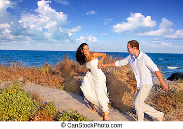 plage, couple, amour, courant