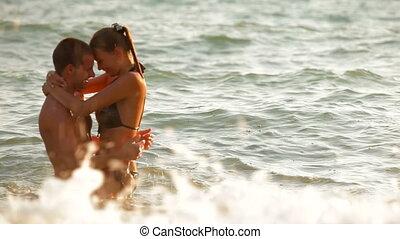 plage, couple, amusement, avoir