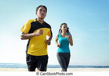 plage, couple, concept, sport, courant