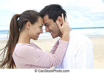 plage, couple, flirter, amour