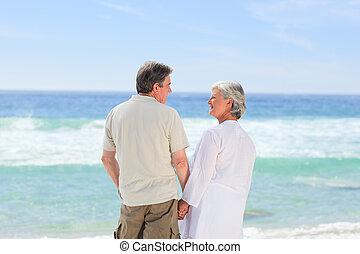 plage, couple, heureux