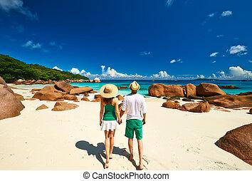 plage, couple, seychelles, vert