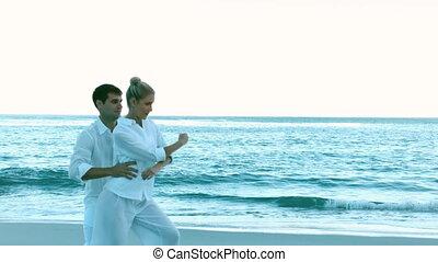 plage, coupler danse