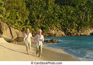 plage, courant, couple, personnes agées