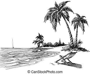 plage, crayon, été, dessin