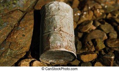 plage, détruit, baril, métal, rochers, rouillé