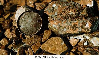 plage, détruit, baril, rouillé, rochers, métal