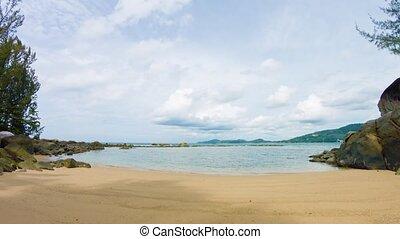 plage, day., exotique, paisible, nuageux, vidéo